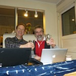 Pete Ballerstedt and Mick Doherty planning the Spring Fling Hammer Dulcimer Rendezvous